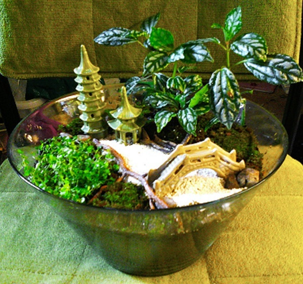 Asian garden in recycled glass bowl
