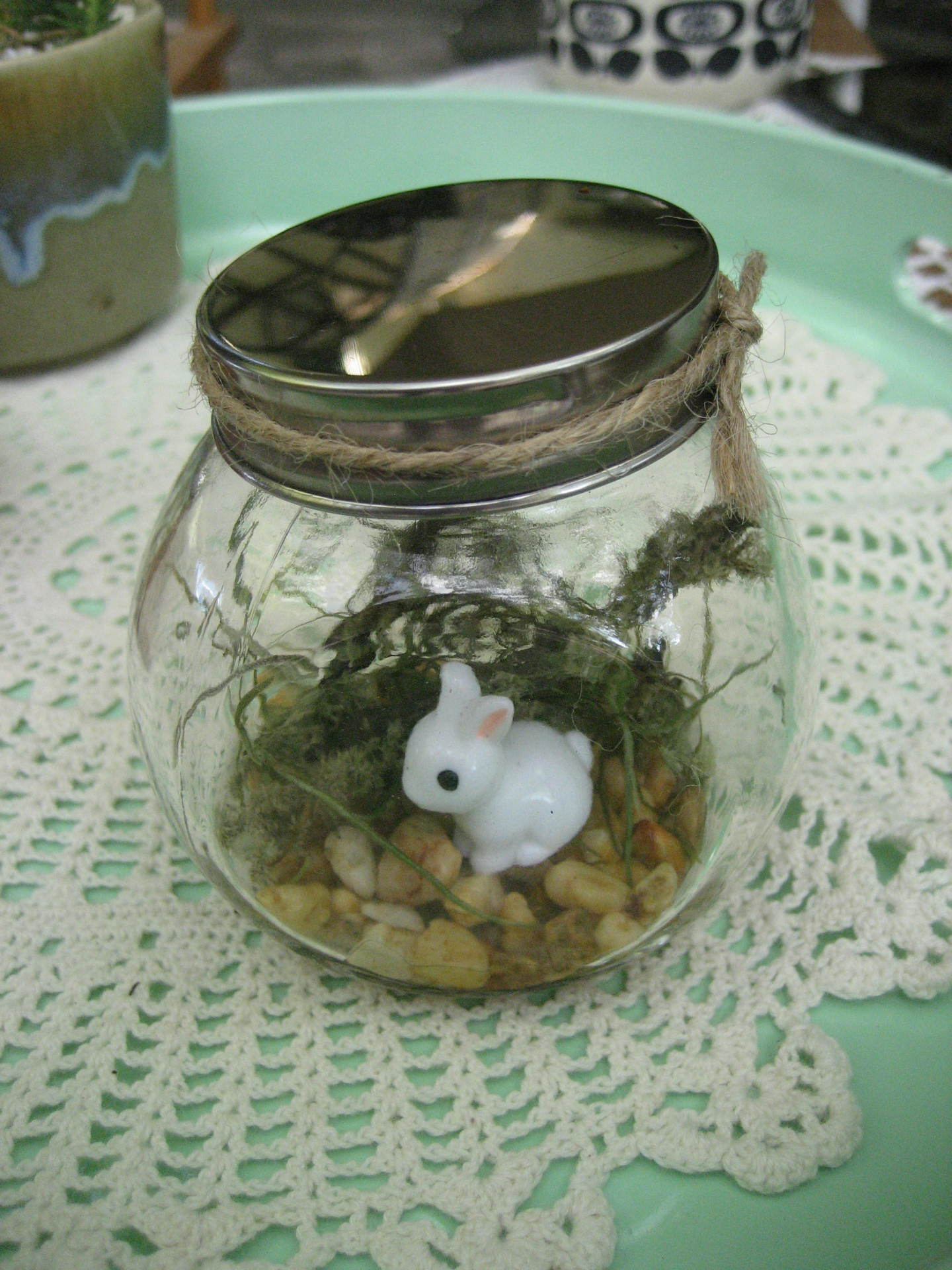 Easter Gift - Airplant & bunny mini jar