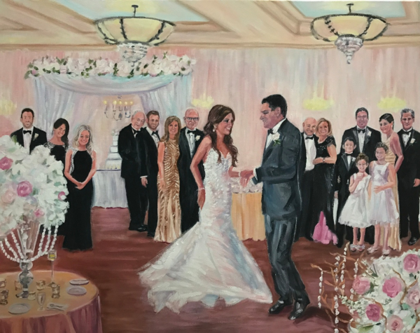 Live event painting, wedding portrait, wedding painting, oil painting, artist, nancy spielman