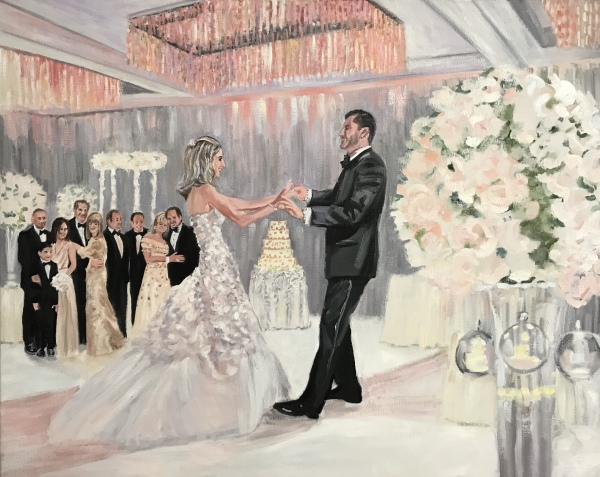 first dance, live event painting, live event painter, wedding portrait, aventura, florida