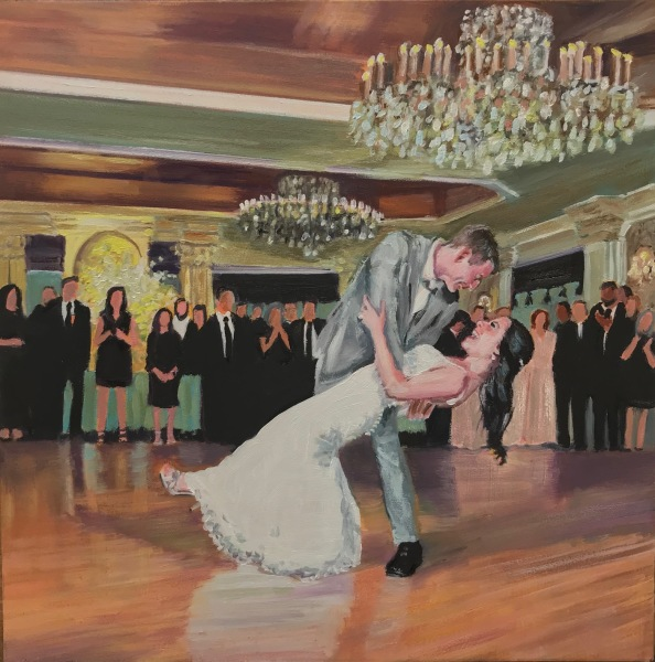 first dance, live event painter, just married, wedding gift