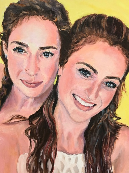 oil painting, portrait of sisters, family portrait, delray beach artist, live event painter