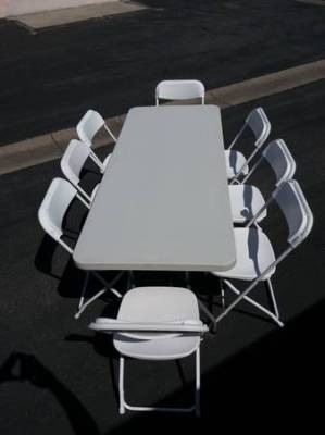 tables, chairs, 6ft tables, white chairs