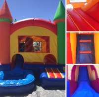 MINI COMBO WATERSLIDE, WATERSLIDE WITH JUMPER, JUMPER WITH WATER SLIDE, SMALL JUMPER WITH WATERSLIDE,