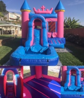 BIG JUMPING AREA, JUMPER WITH SLIDE, PINK CASTLE WATERSLIDE, PINK CASTLE COMBO JUMPER, GIRL WATERSLIDE, COMBO JUMPER, DOUBLE SLIDE COMBO JUMPER, JUMPER WITH SLIDE, WATERSLIDE WITH JUMPER
