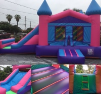 BIG JUMPING AREA, JUMPER WITH SLIDE, GIRL JUMPER WATERSLIDE, COMBO JUMPER, PINK SLIDE COMBO JUMPER,  PINK WATERSLIDE JUMPER WITH SLIDE, WATERSLIDE WITH JUMPER