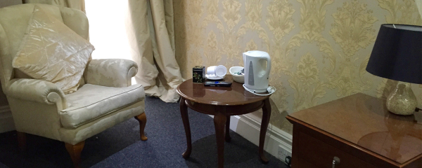 Seating Area and Tea Station at New Oxford Hotel Blackpool.