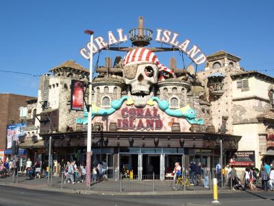 Exterior View of the Skull and the Sign at the Coral Island Arcade Blackpool