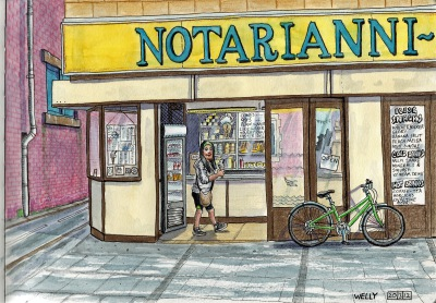 Pencil Drawing of the Front Exterior view of Notarianni Ice Cream Blackpool.