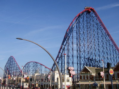 Tall Blue and Red Big One Rollercoaster at the Pleasure Beach Blackpool on a Summers Day.