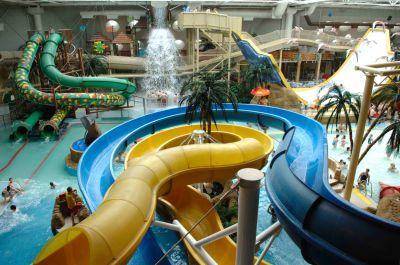 Interior View of the Blue and Yellow  Slides at the Sandcastle Waterpark Blackpool.