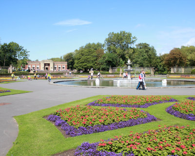 Flowers and the Fountain on a Summers Day at Stanley Park Blackpool.