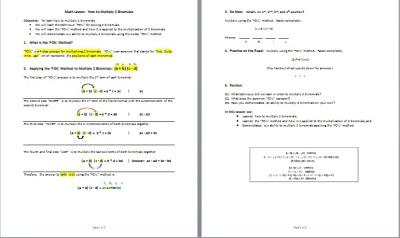 Multiplying Binomials - Teaching Fellows