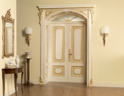 RE SOLE 3014/QQ with TQ Re Sole New fan semicircular radial doorway with cathedral glass and panelling on the frame