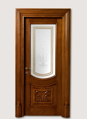 LUIGI XVI 4014/QQ/INT/INF/V Antique-effect Siberian walnut finish with carved lower front panel and AV-23 glass