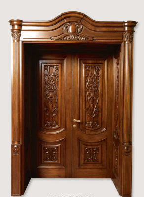 LUIGI XVI 4014/QQ/INT. A pillar antique-effect finish Siberian walnut with panelling on the frame and carved front panels