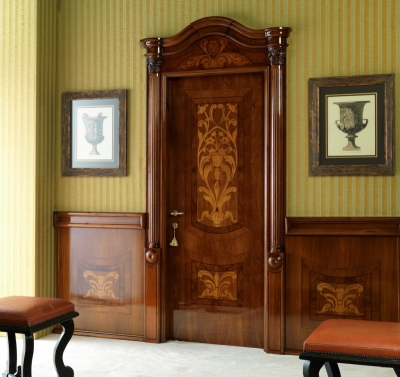 LUIGI XVI 4014/QQ/INTAR. Italian walnut glossy Maggiolino inlay finish with wall panelling