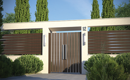 BLIND V      Gates made of aluminium profiles in vertical structure combined with inox elements, which renders them a true jewel placed at your house entrance.