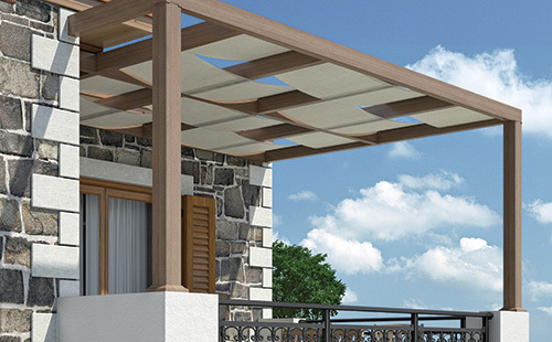 Modern with canvas roofing - The combination of modern pergolas with canvas offer additional shading to balconies, gardens etc