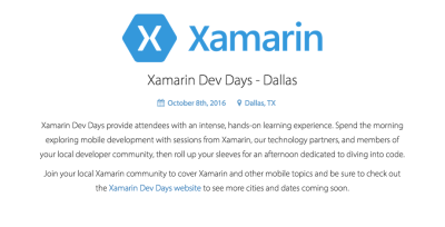 Sponsoring Xamarin Dev Days
