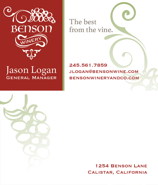 graphic design, portfolio, graphic artist, business card, winery