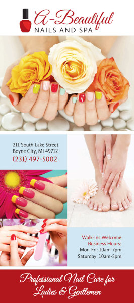 nail, salon, graphic design, rack card