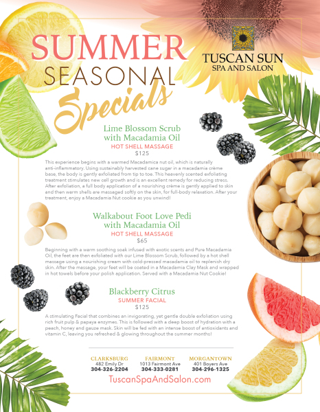 Spa Summer Menu