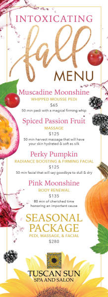Spa Seasonal Fall Menu