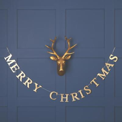 The Contemporary Home - Gold Wooden Merry Christmas Garland