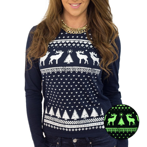 Jolly Clothing - Women's glow in the dark long Reindeer top
