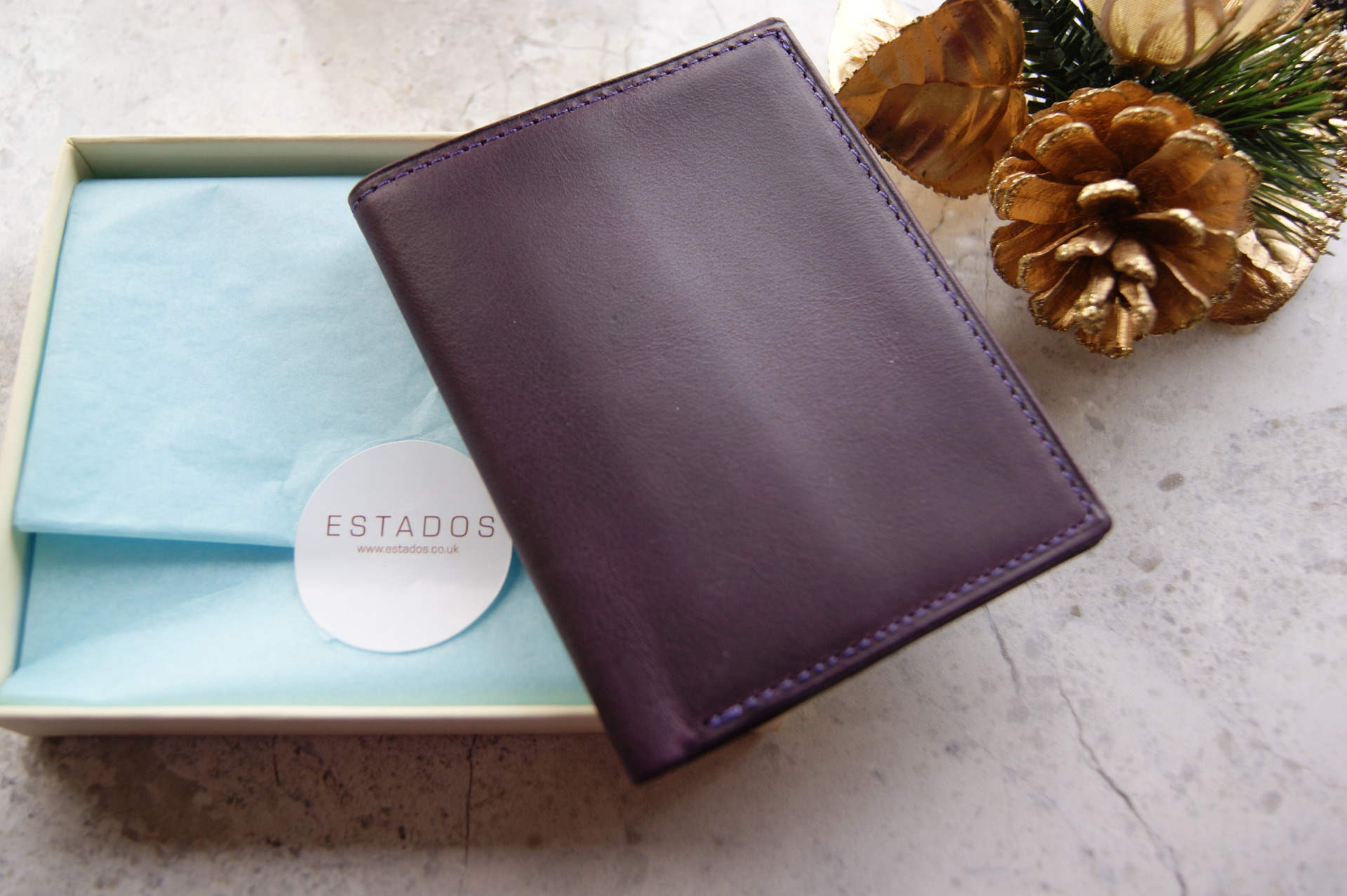 Estados - Leather Mini Wallet in Deep Purple & Pink