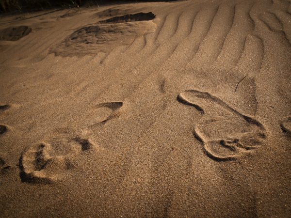 Voet in zand
