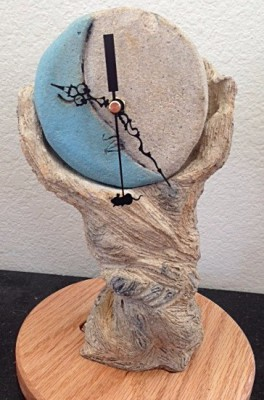 Blue Moon Sculpture with Clock  $125