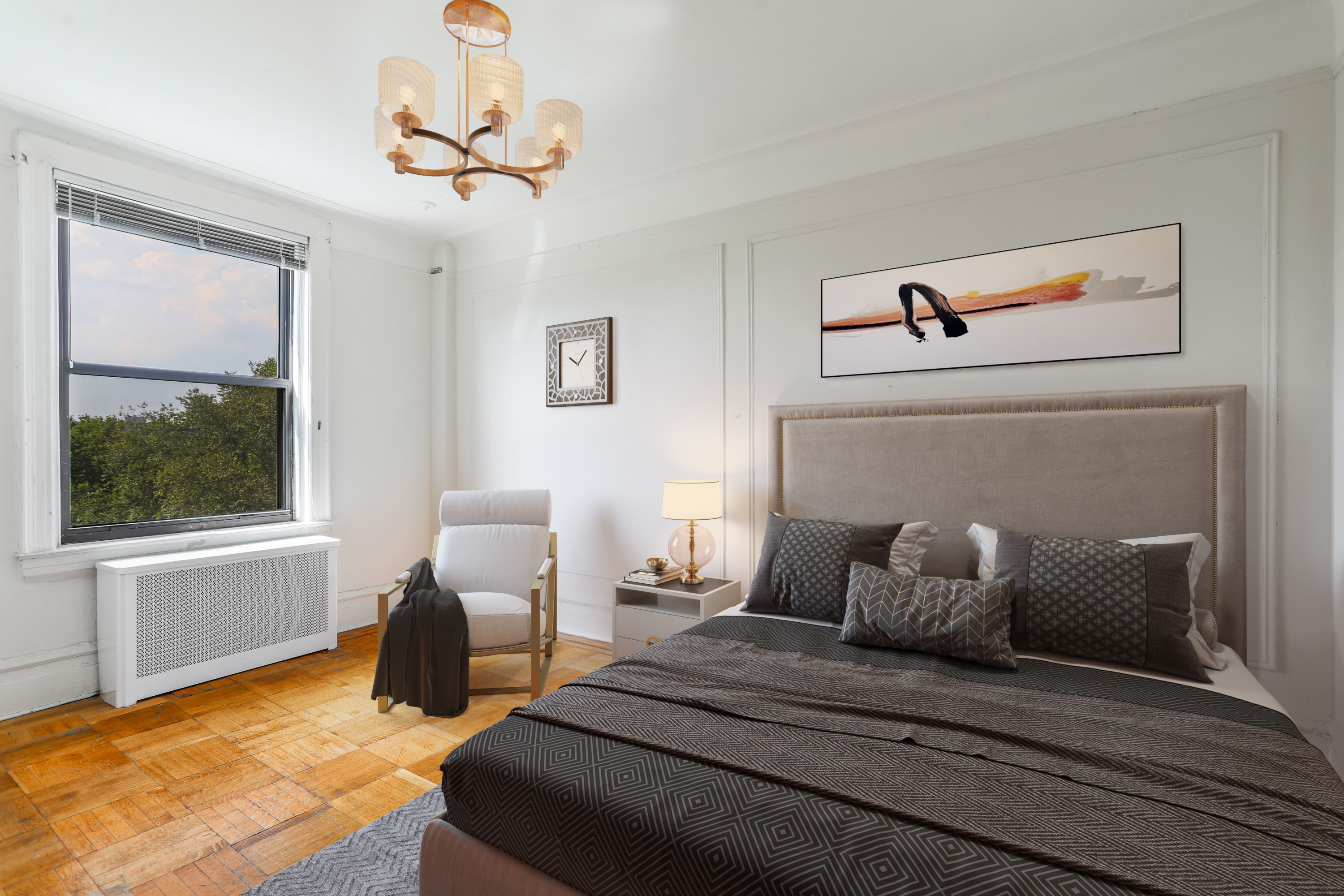 Spacious master bedroom with Western exposures
