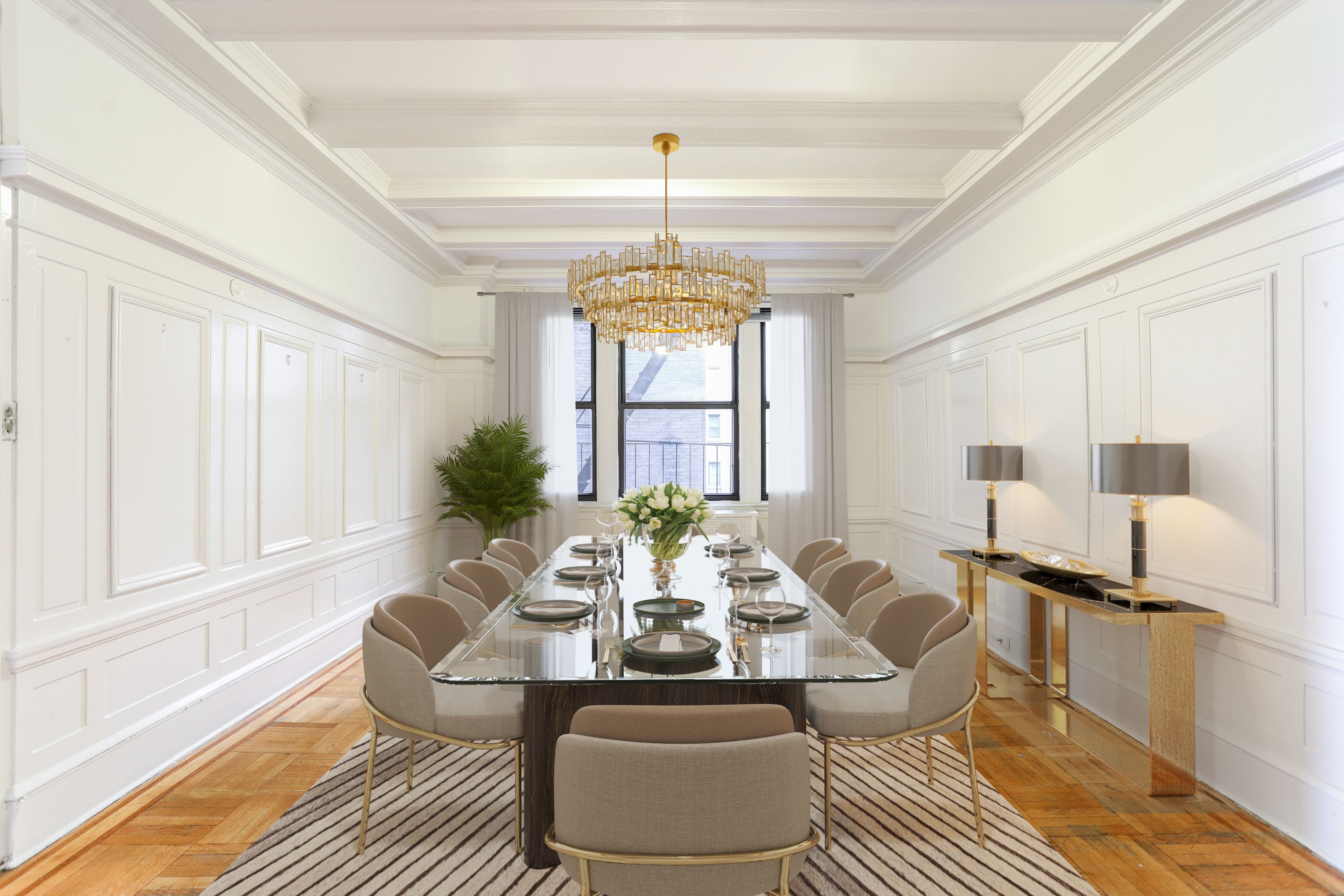 Formal separate dining room with French doors