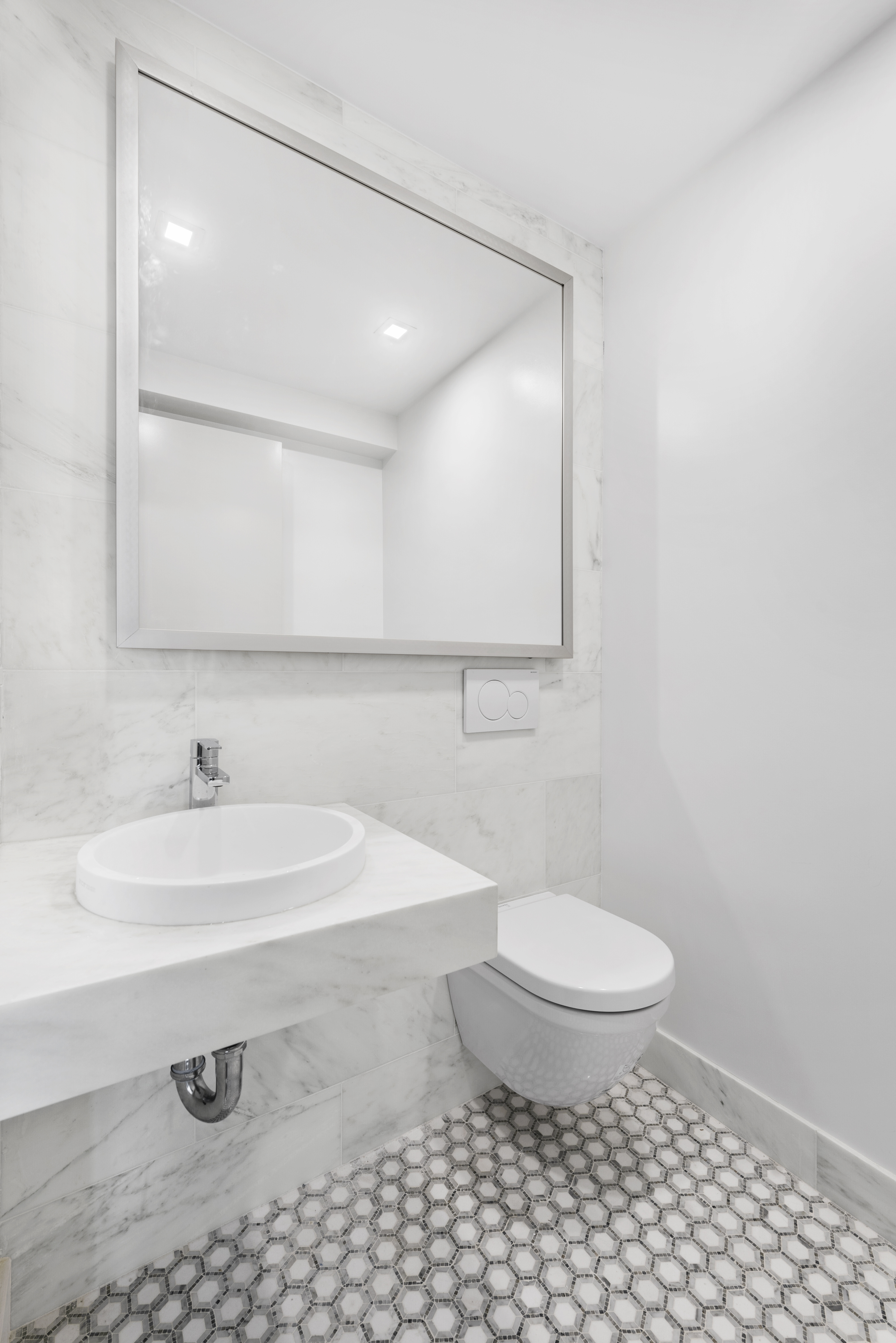 Marble powder room for guests