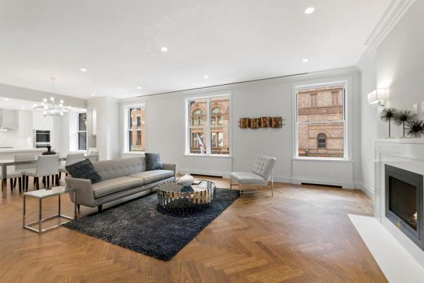 Great room with over 40 feet of entertaining space and direct views of Carnegie Hall