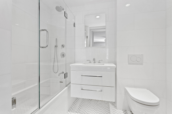 Master en-suite bathroom with Waterworks fixtures and in-floor heating