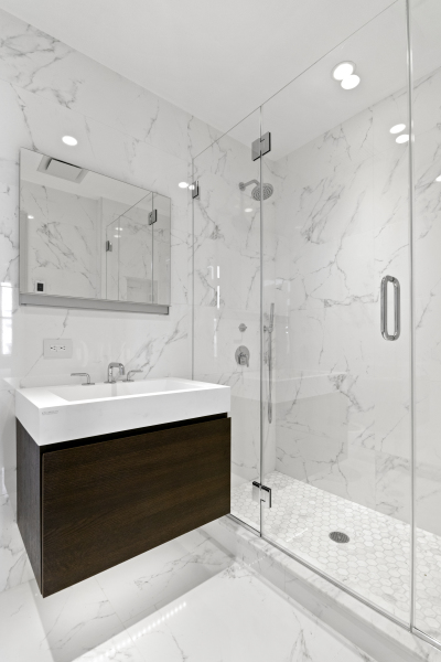 En-suite Master Bathroom with Beautiful Porcelanosa tiles and radiant in-floor heating