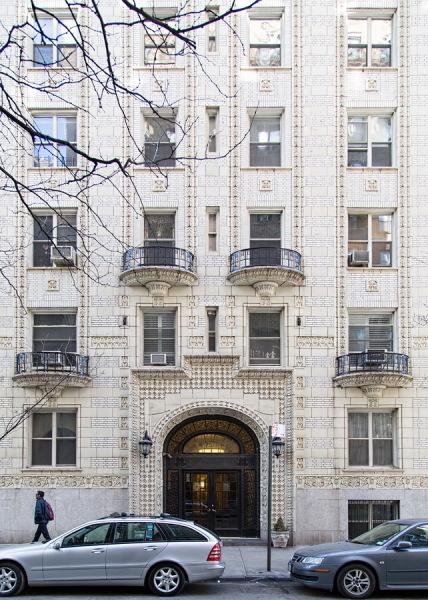 White-brick pre-war high rise on quiet West End Avenue