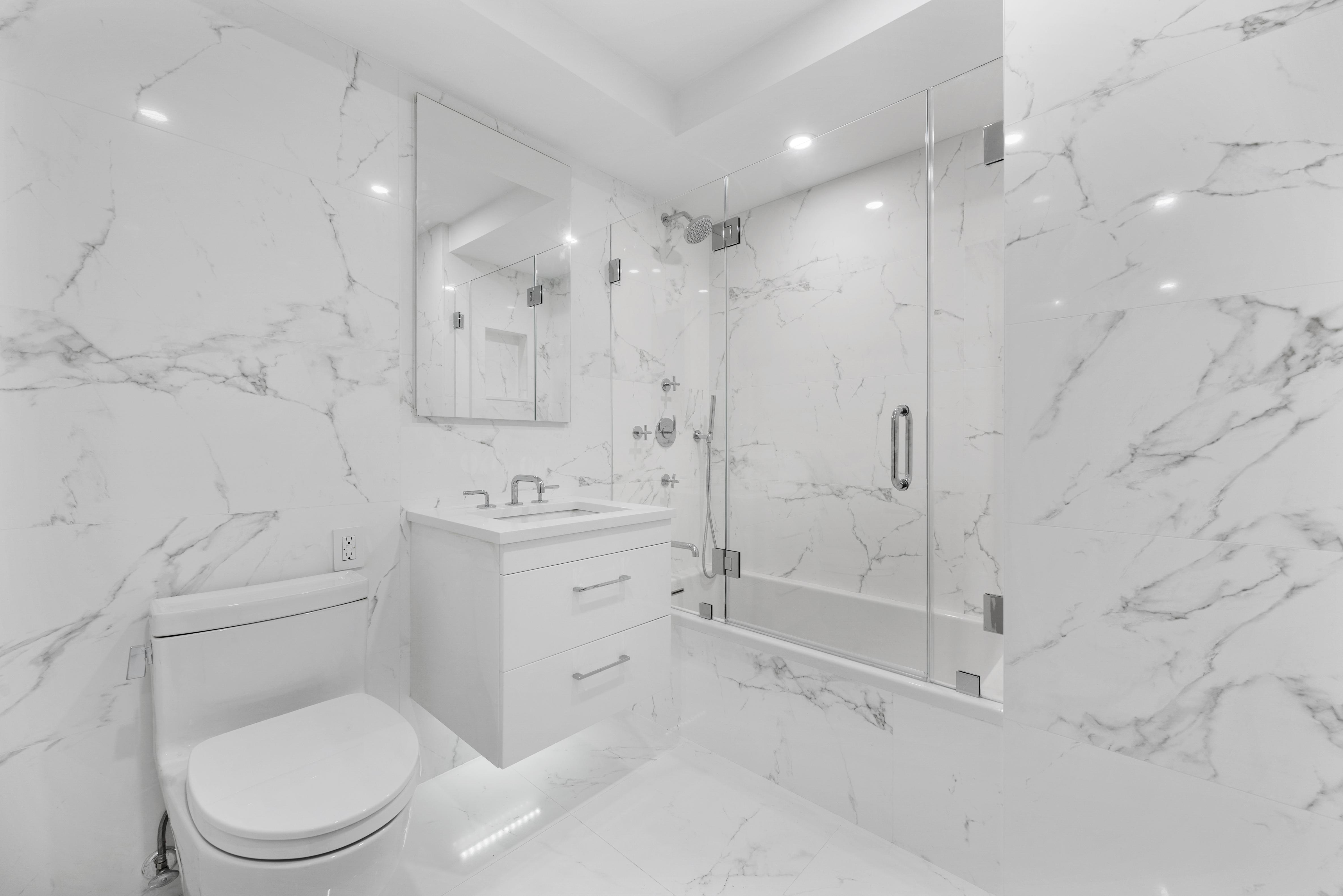 Master bathroom with Waterworks fixtures and in-floor heating