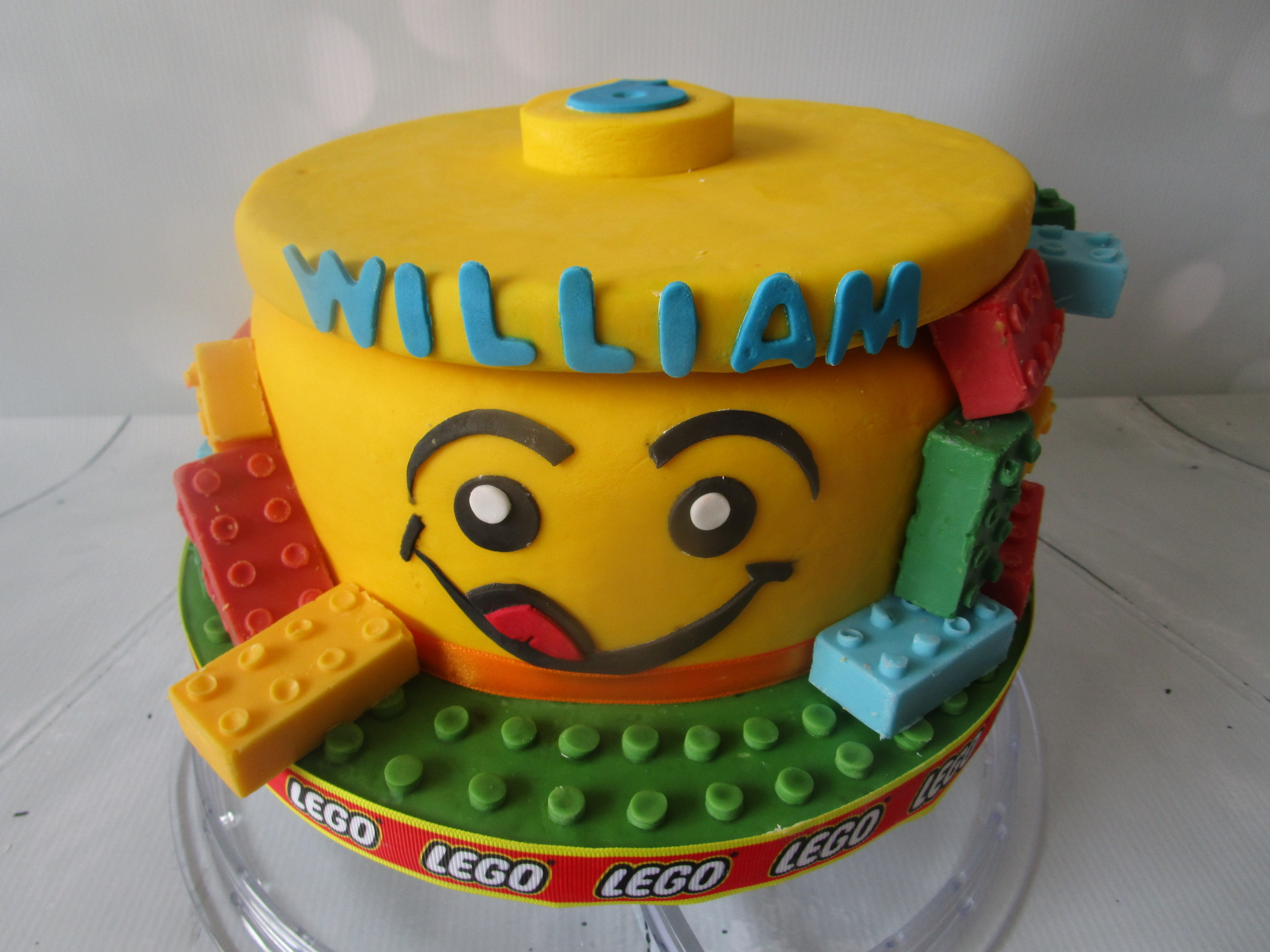Lego Birthday Cake with Handcrafted Candy Bricks