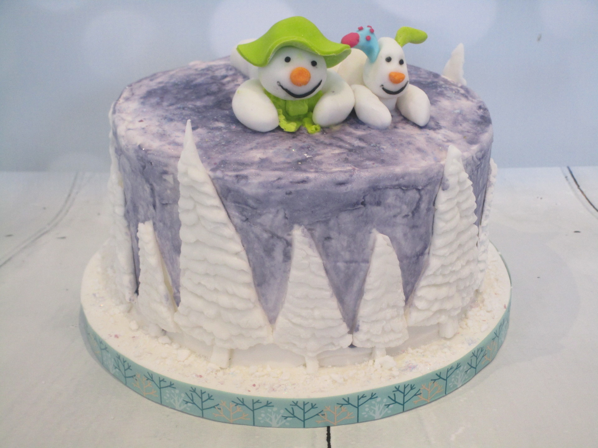 Handpainted Royal Iced Christmas Cake with Hand Crafted Fondant Decorations