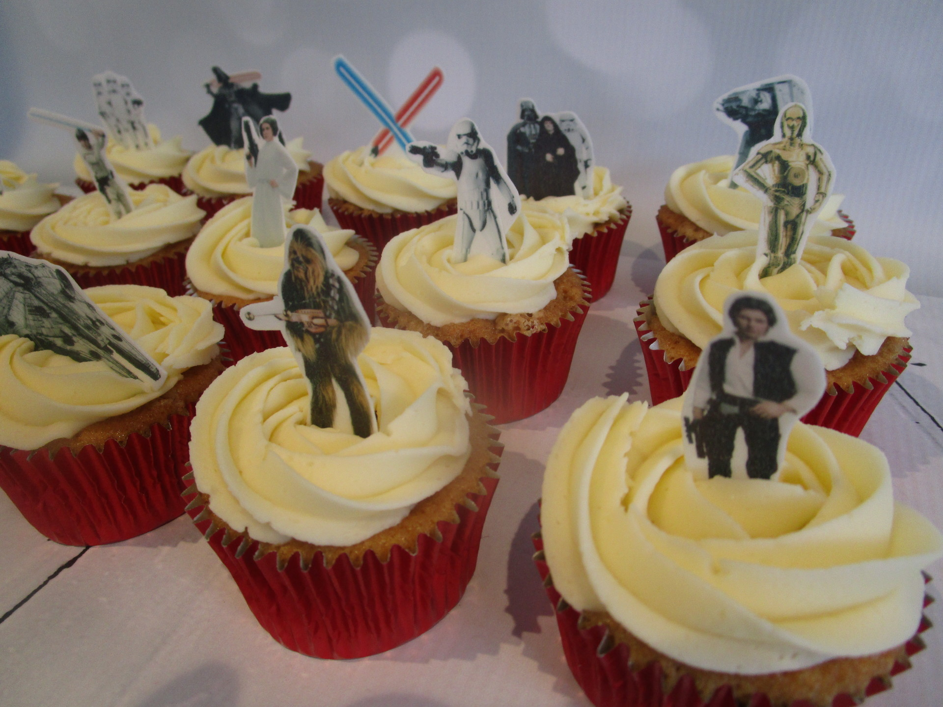 Vanilla Cupcakes with Wafer Star Wars Toppers