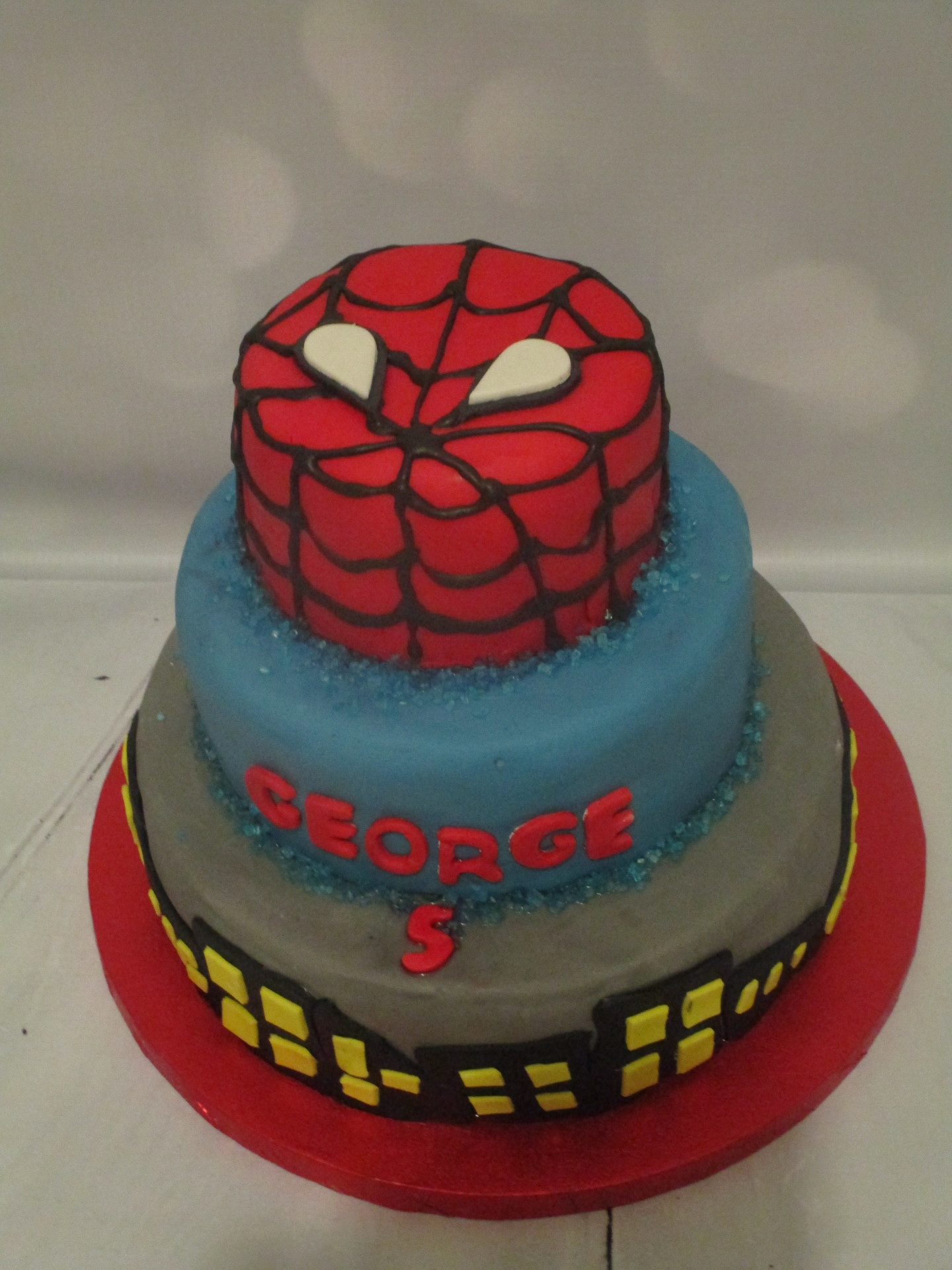 3 Tiered Spiderman Cake for a Large Class Party