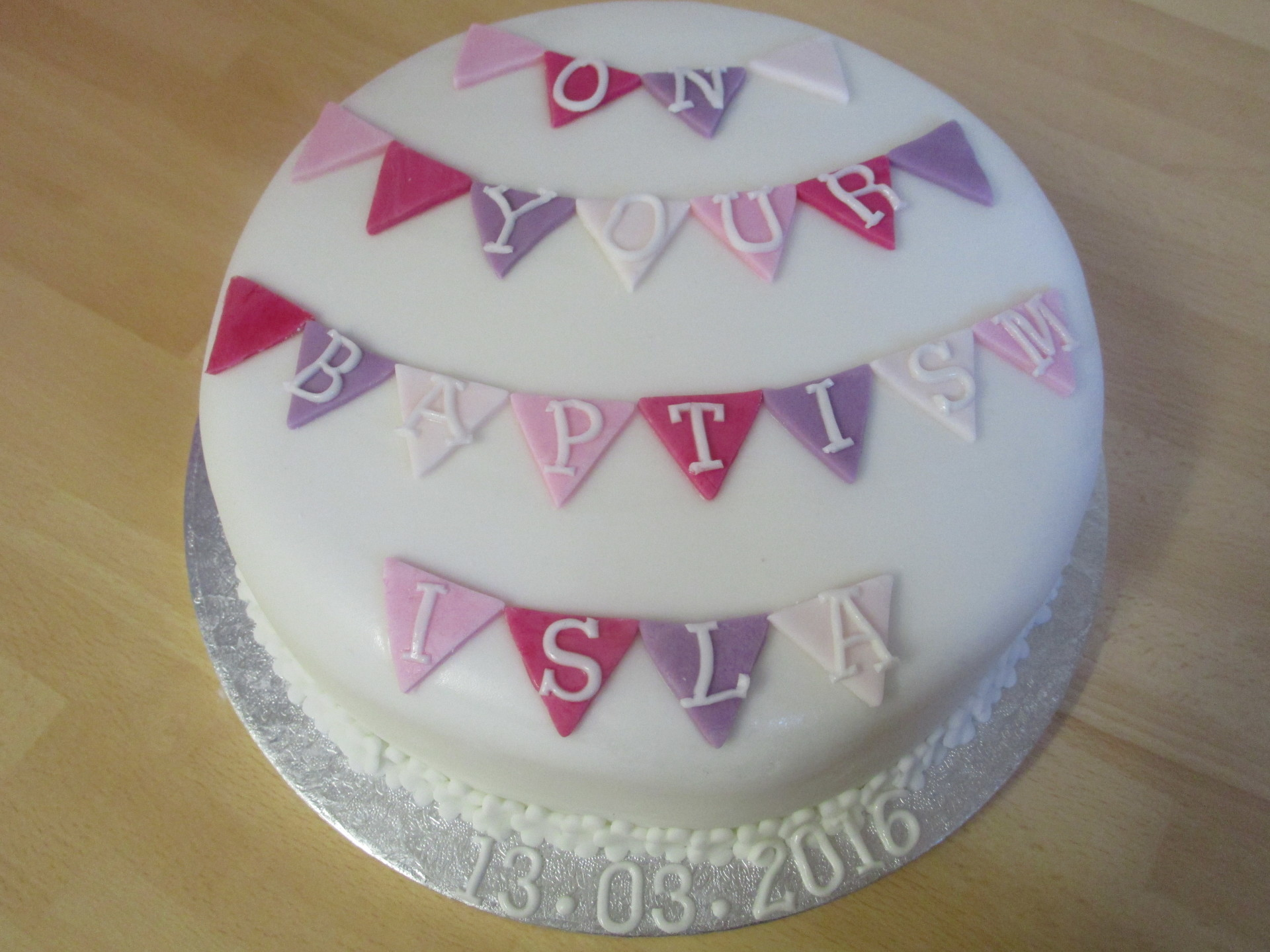 Pretty bunting Christening cake