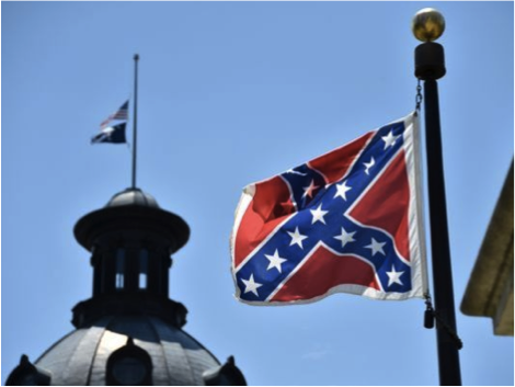 The Confederate flag flying over the State Capitol building in South Carolina