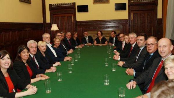 Corbyn's shadow cabinet (image via BBC)