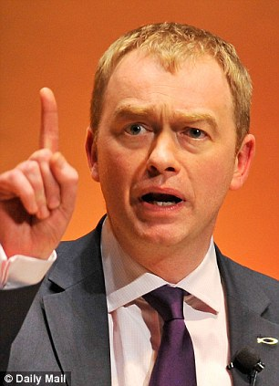 Tim Farron, apparently testing the winds (image via The Daily Mail)