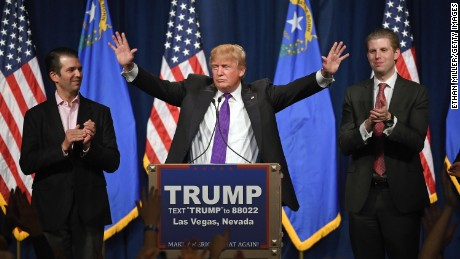 Trump giving his victory speech in Nevada (image via CNN)